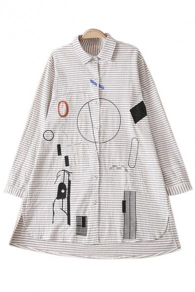 Fashion Striped Geometric Printed Long Sleeve Tunic Shirt