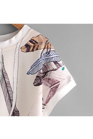 Feather Printed Round Neck Short Sleeve Dip Hem Blouse
