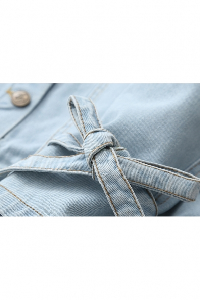 Floral Embroidered Lapel Collar Long Sleeve Bow Tie Cuff Button Down Denim Jacket