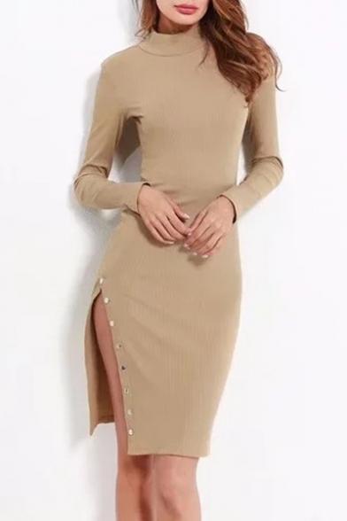High Neck Long Sleeve Plain Buttons Embellished Split Side Plain Midi Penci Dress