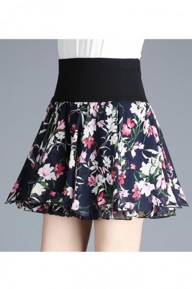 50501a56d9 High Waist Floral Printed Layer Chiffon Mini A-Line Skirt -  Beautifulhalo.com