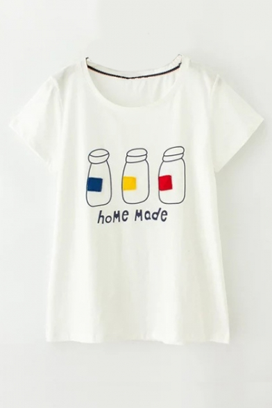 Neck Bottle Round Pattern Letter MODE Summer Short Sleeve HOME Tee HO4RqawFO
