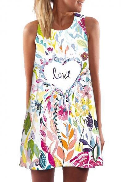 LOVE Letter Heart Leaf Printed Round Neck Sleeveless Mini A-Line Dress