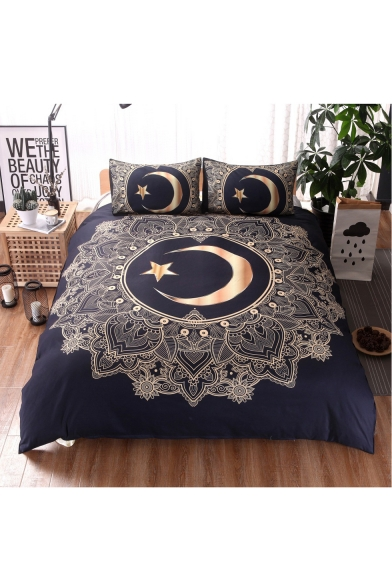 Moon Star Printed Three Pieces Soft Bedding Sets Duvet Cover Set