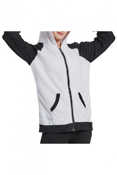 Panda Pattern Color Block Long Sleeve Zip Up Warm Hoodie