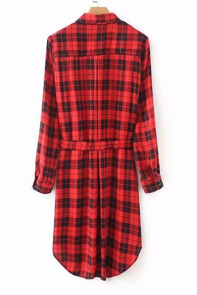 Waist Midi Tie Button Printed Plaid Dress Shirt Collar Sleeve Down Lapel Long 0O8qxHWzq