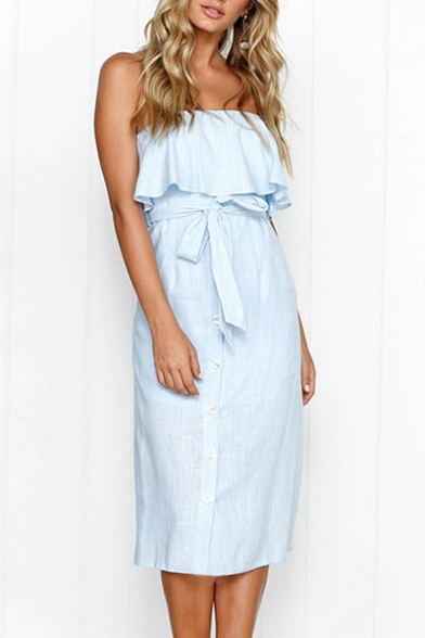 Ruffle Detail Sleeveless Strapless Plain Midi A-Line Tube Dress with Random Color of  the Button