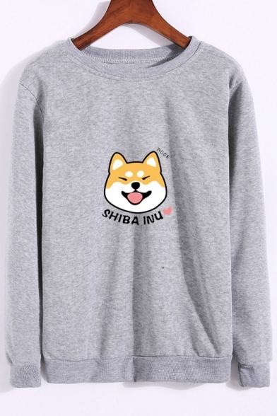 Sleeve SHIBA Printed Long Round Sweatshirt INU Dog Letter Neck Bqcw0qH6