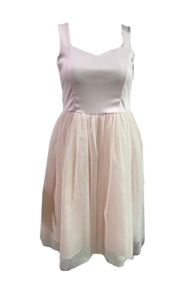 Straps Sleeveless Mesh Patchwork Mini A-Line Dress
