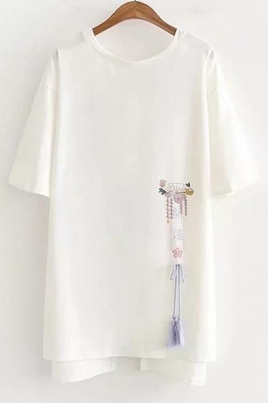 Unique Bow Embellished Back Round Neck Short Sleeve Mini T-Shirt Dress