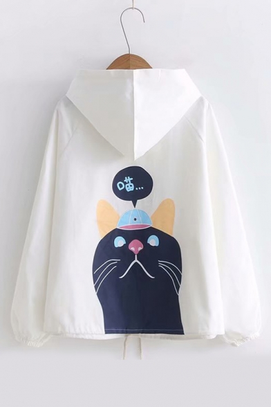 Cat Chinese Printed Back Long Sleeve Button Down Hooded Coat