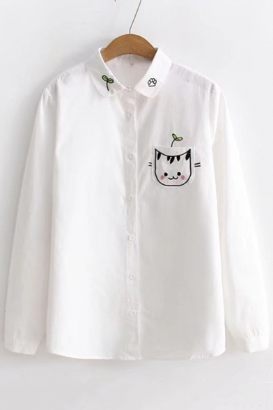 Cat Leaf Embroidered Pocket Lapel Collar Long Sleeve Button Down Leisure Shirt