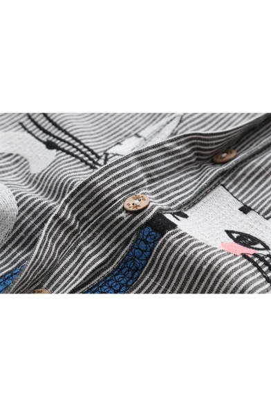 Cute Cat Embroidered Striped Printed Stand Up Collar Long Sleeve Button Down Shirt