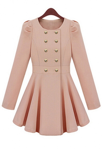 Double Breasted Collarless Long Sleeve Plain Tunic Coat