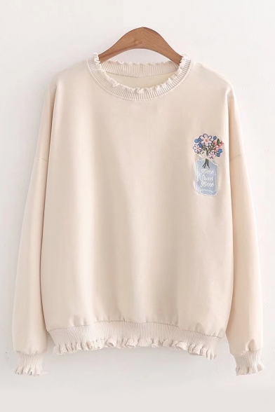 Neck Letter Sweatshirt Round Embroidered Long Trim Floral Sleeve Ruffle qwAaTU