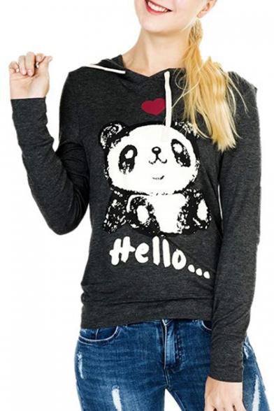 Slim HELLO Panda Hoodie Sleeve Long Printed Letter n1XWxq1v