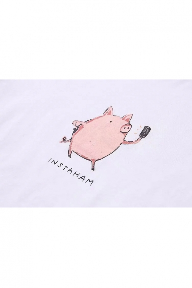 Printed Lovely Round Neck Sleeve Tee Pig Short Letter 4HTHwpqF