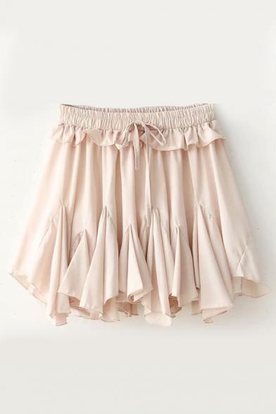 New Stylish Plain Ruffle Hem Elastic Waist Culottes
