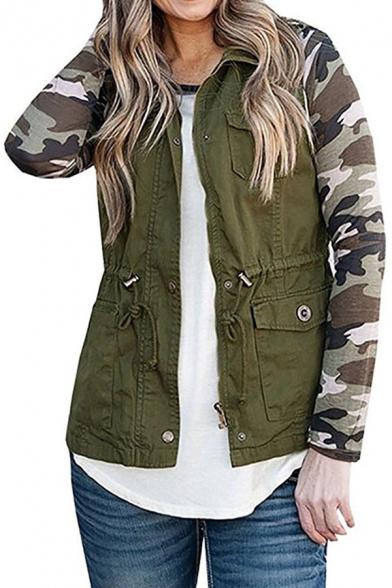 Plain Drawstring Waist Sleeveless Lapel Collar Vest Coat with Multi Pockets