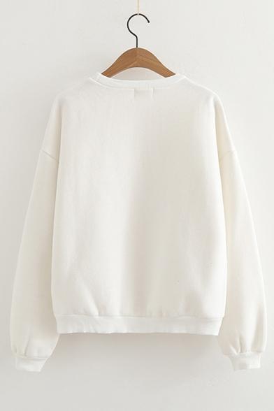 Long Neck Embroidered Sweatshirt Round Rabbit Sleeve Pq6wtyZ
