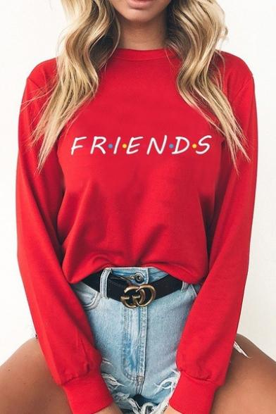Sleeve Long Sweatshirt Letter Neck Printed Round FRIENDS wfgXqgR