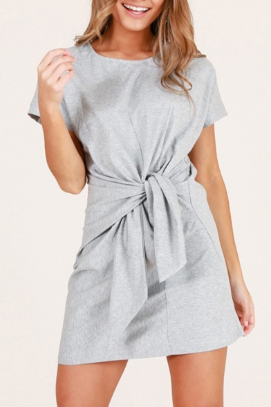 Round Neck Short Sleeve Tie Front Plain Mini T-Shirt Dress