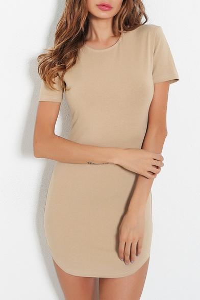 Slim Round Neck Short Sleeve Plain Mini Pencil Dress
