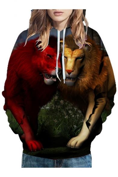 3D Lovely Lions Printed Long Sleeve Casual Hoodie