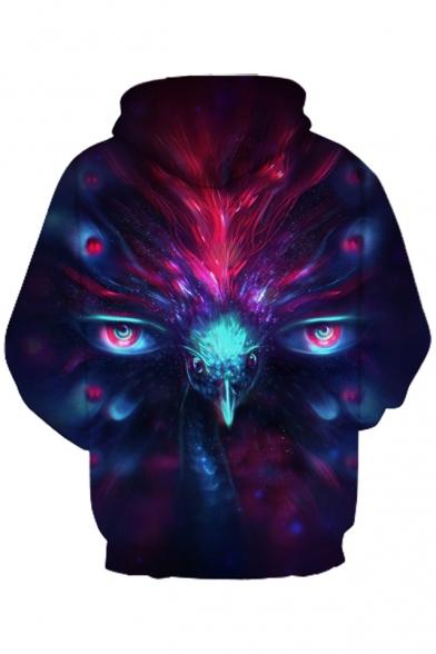 Sleeve Printed Long Hoodie Loose Peacock 3D xIqOT05T