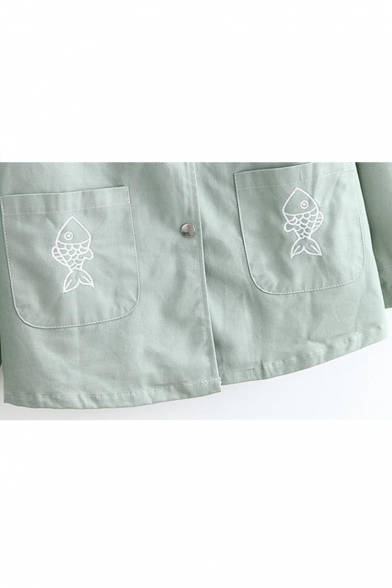 Button Down Long Sleeve Fish Embroidered Loose Hooded Coat