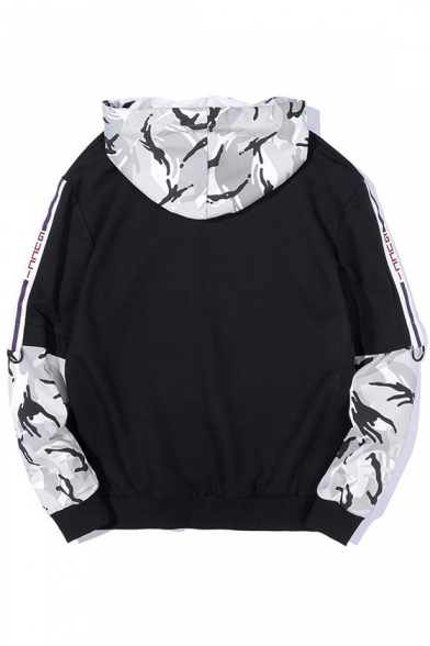 Printed Color Loose Block Camouflage Long Hoodie Letter Sleeve CC6qBtw