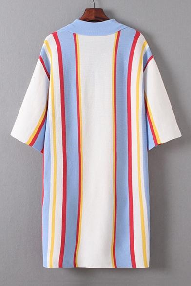 Color Block Striped Printed Button Placket Half Sleeve Midi Shift Dress