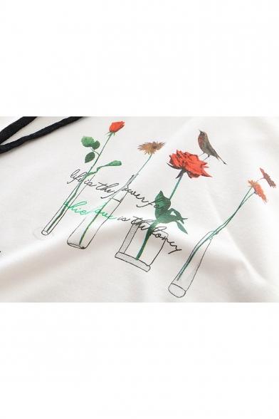 Cute Bird Floral Printed Leisure Long Sleeve Hoodie