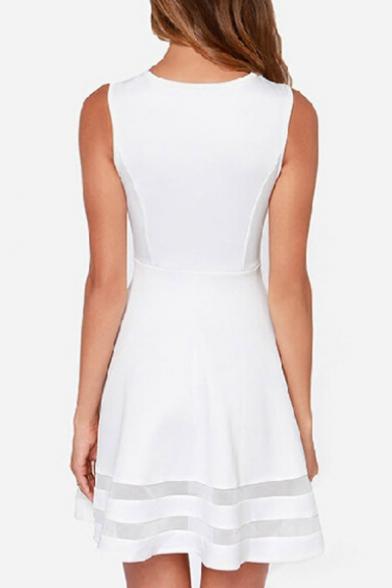 A Mesh Line Elegant Dress Insert Mini Sleeveless Neck Round pwdn7YFO