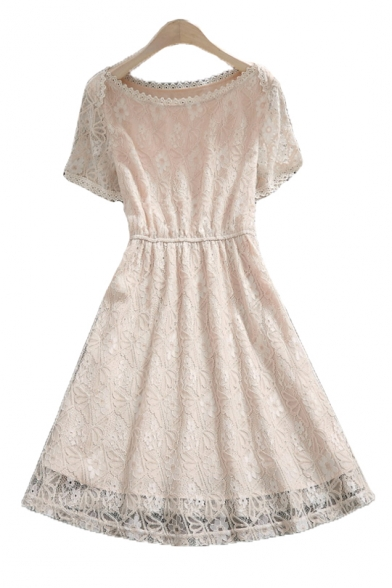 Elegant Round Neck Short Sleeve Elastic Waist Midi A-Line Lace Dress