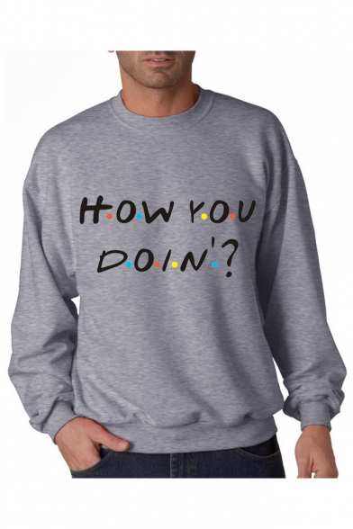 Letter Round YOU Sleeve Long Sweatshirt Printed HOW Neck Aw5nxTgWS