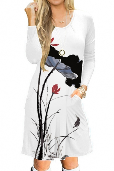 Lotus Printed Round Neck Long Sleeve Midi A-Line Dress