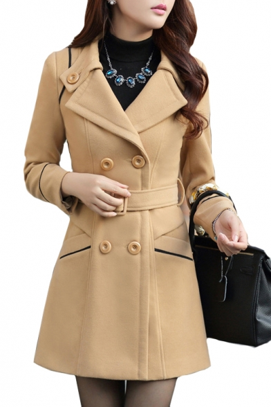 Notched Lapel Collar Double Breasted Long Sleeve Contrast Piping Tunic Woolen Coat