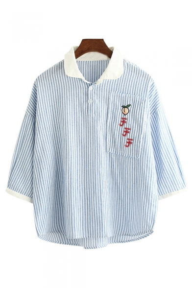Peach Japanese Embroidered Striped Printed Contrast Collar 3/4 Length Sleeve Blouse