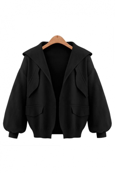 Plain Sleeve Long Hooded Front Coat Crop Open qrxq1Z5w6