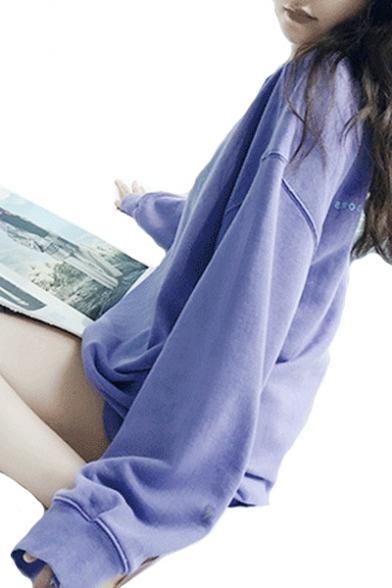 Tunic Long Neck Printed Round Neck Sleeve Round Letter Sweatshirt xTZawA1q