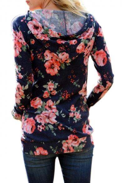 Printed Slim Floral Hoodie Sleeve Leisure Long UTPwqTx5