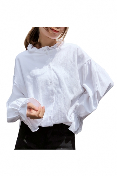 Collar Sleeve Stand Up Plain Down Blouse Chic Button Long 5ZtSAtqw