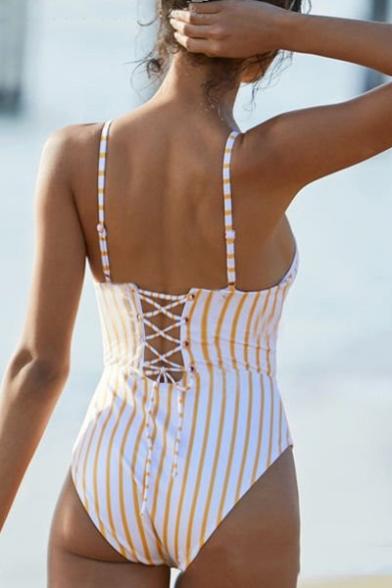 Striped Printed Lace Up Spaghetti Straps Sleeveless One Piece Swimwear