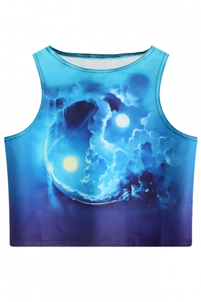 Printed Crop Tank Moon Round Sleeveless Sun Neck g05xv6wwq