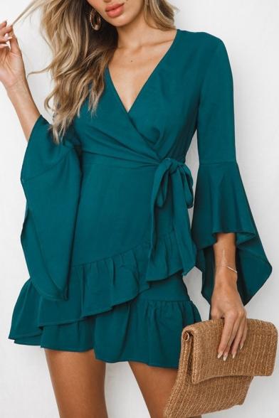 V Neck Long Sleeve Plain Ruffle Detail Mini A-Line Dress