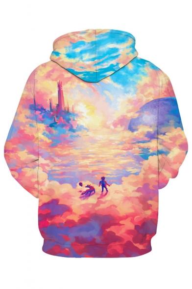 3D Fancy Sky Cloud Printed Long Sleeve Leisure Hoodie