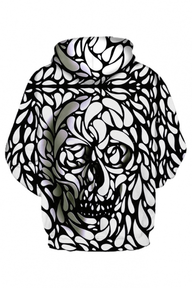Long Fashion 3D Trendy Sleeve Printed Hoodie Skull dtdwBC