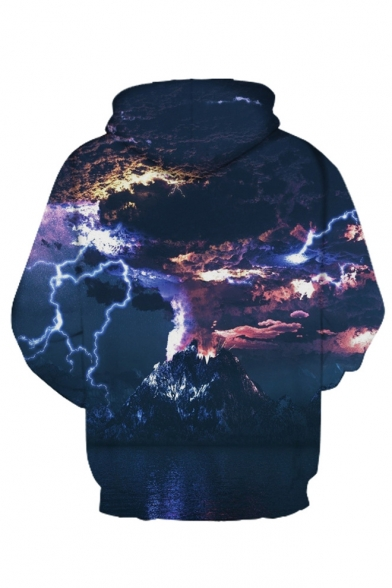 Hoodie Printed Sleeve 3D Volcanic Long Letter 16q1w4p