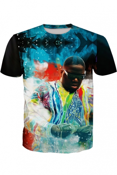 Tee Printed Painting 3D Neck Round Character Sleeve Short 0SHZHpqx